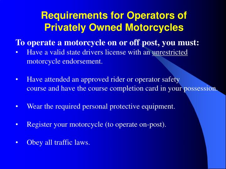 Requirements for Operators of