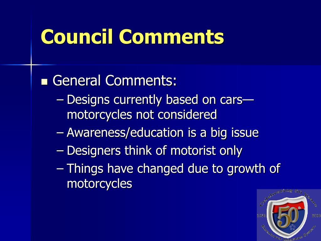 Council Comments