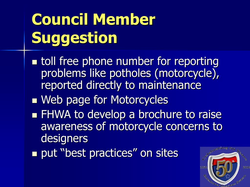 Council Member Suggestion