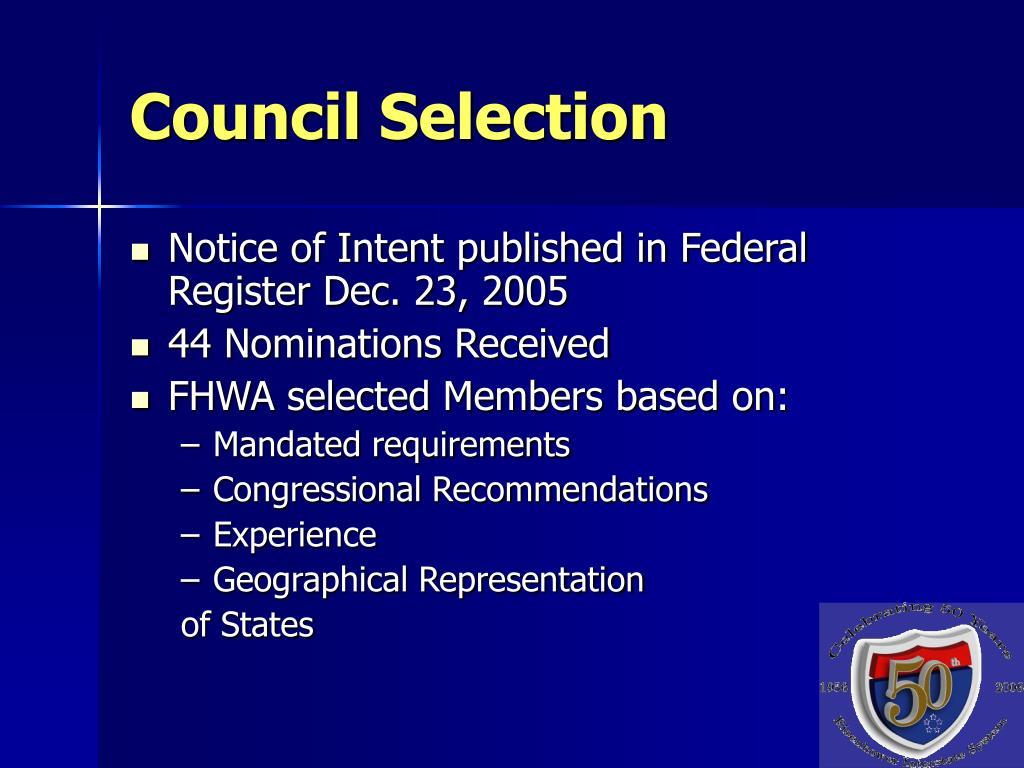 Council Selection