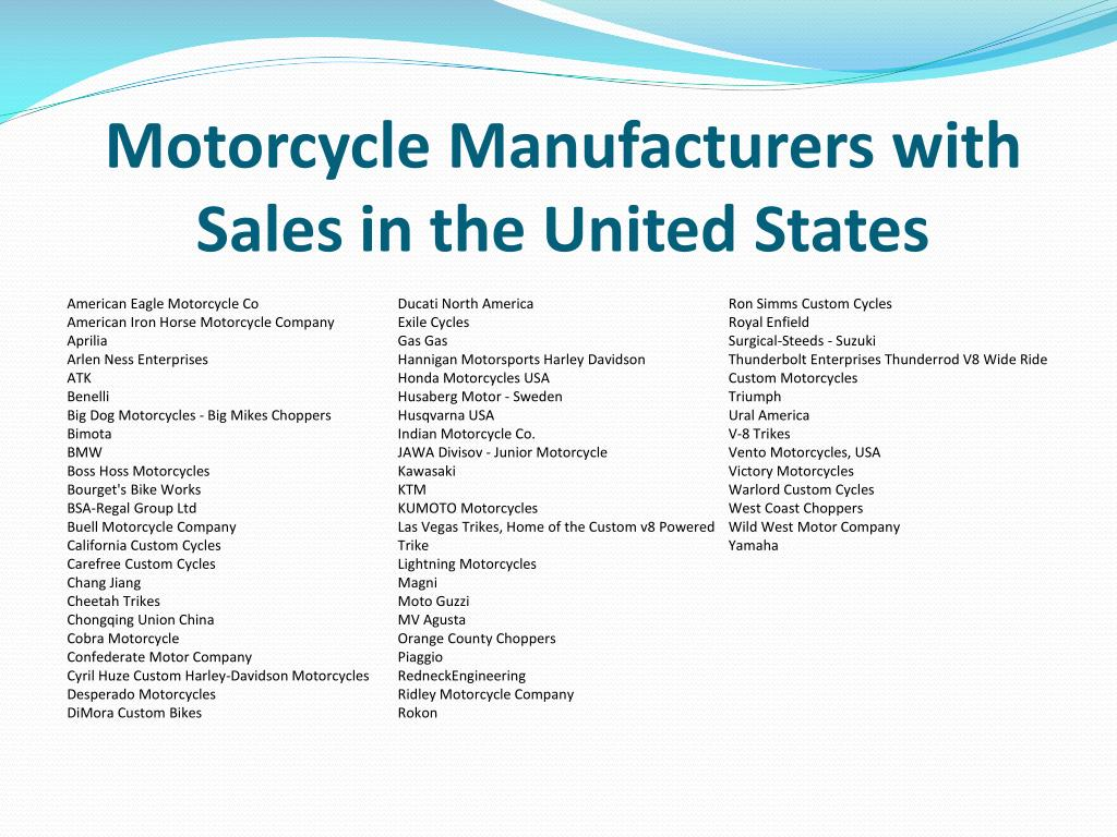 Motorcycle Manufacturers with Sales in the United States