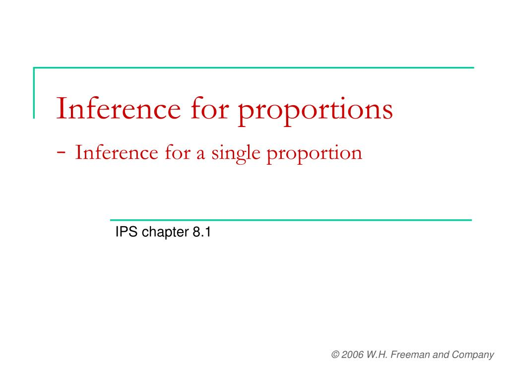 inference for proportions inference for a single proportion l.