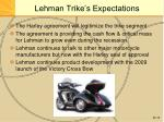 lehman trike s expectations