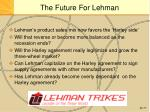 the future for lehman