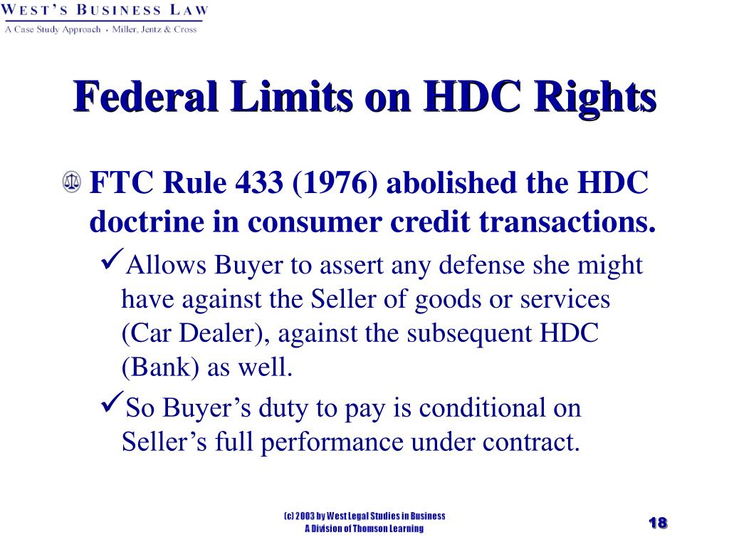 Federal Limits on HDC Rights