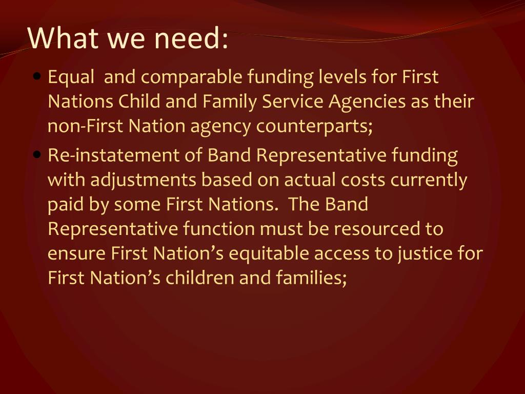 What we need: