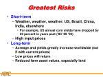 greatest risks
