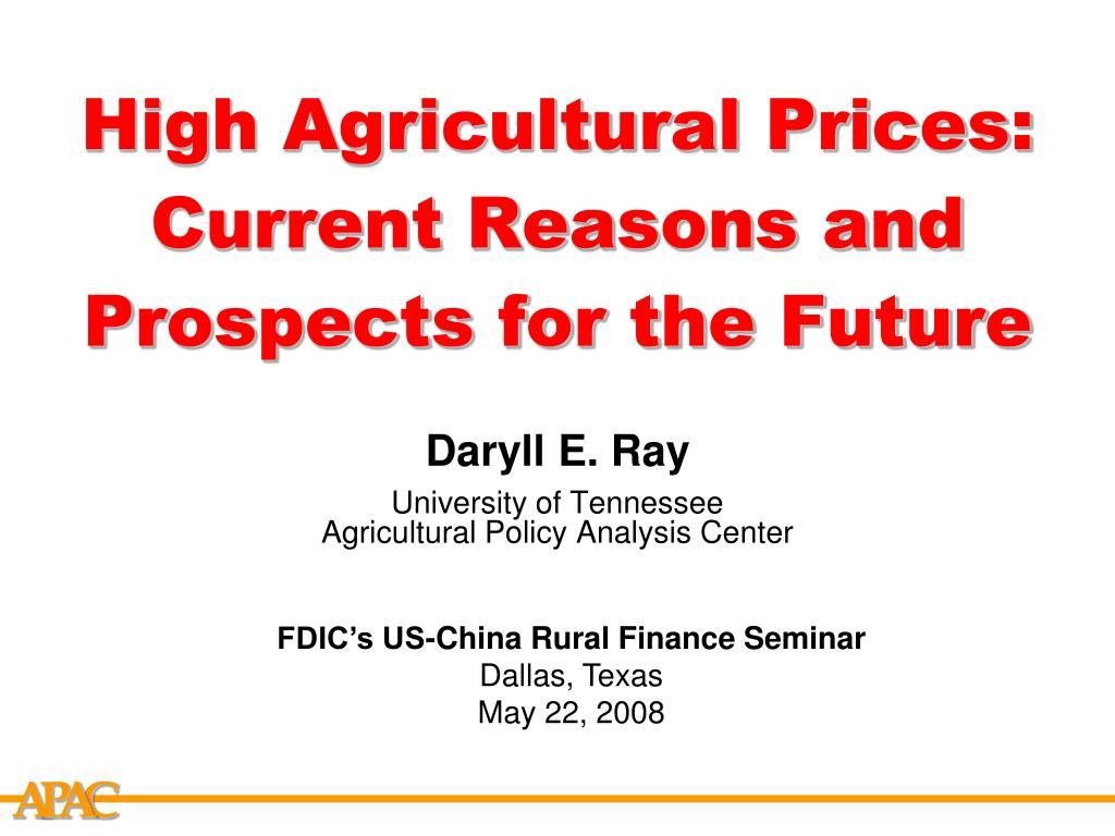 high agricultural prices current reasons and prospects for the future l.