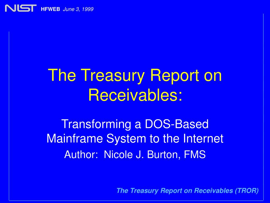 the treasury report on receivables l.