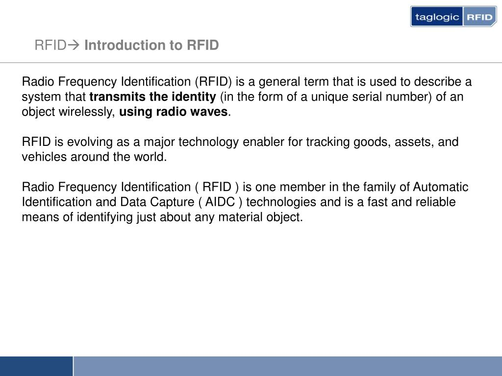 PPT - INTRODUCTION TO RFID PowerPoint Presentation - ID:685538