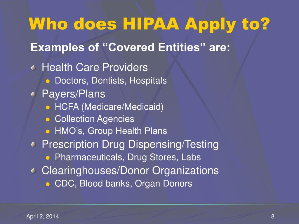 Who does HIPAA Apply to?