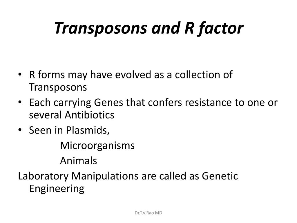 Transposons and R factor