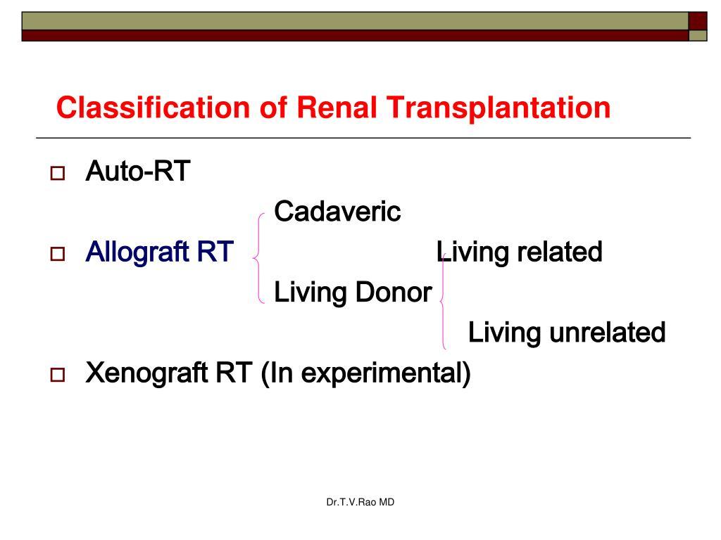 Classification of Renal Transplantation