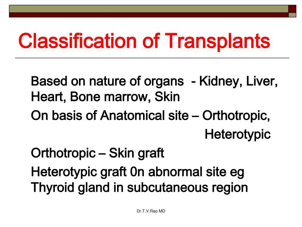 Classification of Transplants