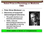 nobel prize in physiology or medicine 1960