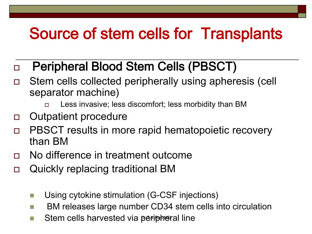 Source of stem cells for