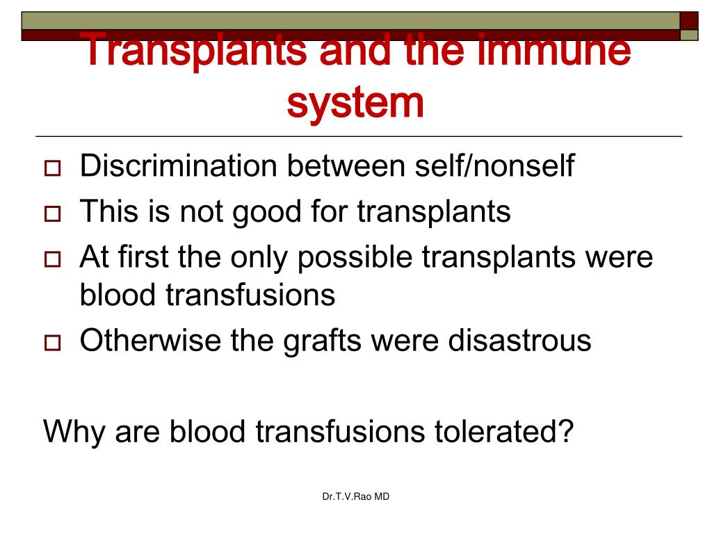 Transplants and the immune system