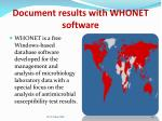 document results with whonet software
