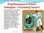 drug resistance in enteric pathogens a growing concern