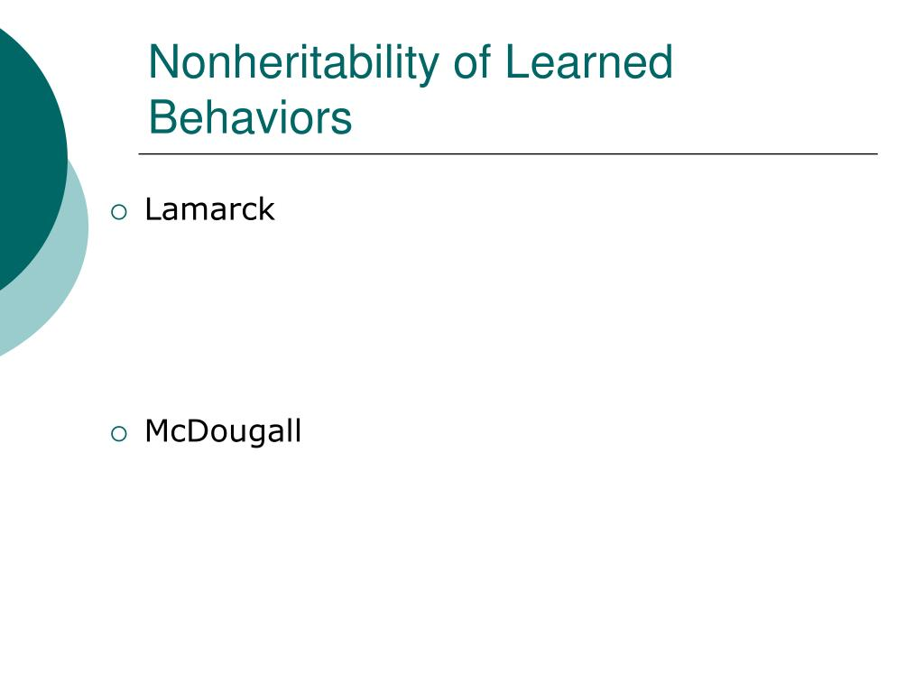 Nonheritability of Learned Behaviors