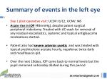 summary of events in the left eye