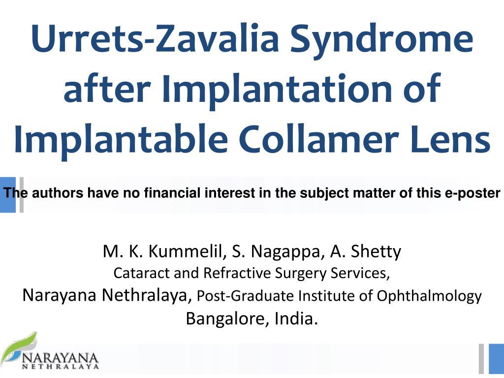 urrets zavalia syndrome after implantation of implantable collamer lens l.