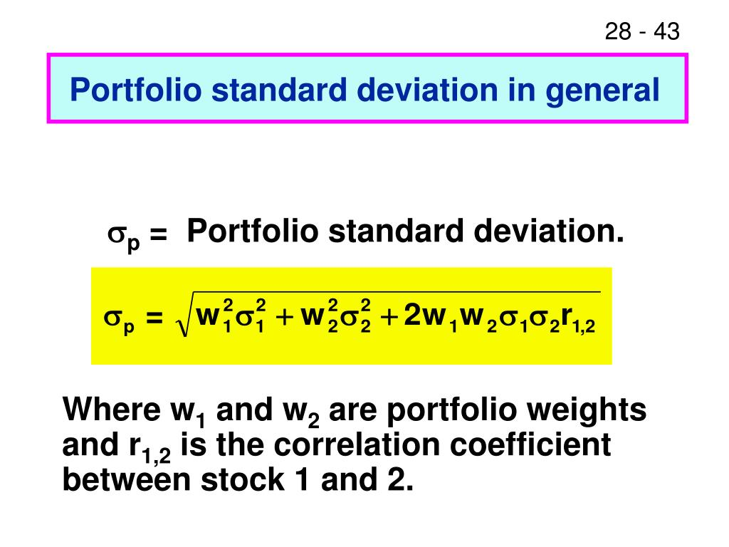 Portfolio standard deviation in general