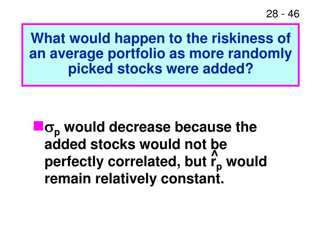 What would happen to the riskiness of an average portfolio as more randomly picked stocks were added?