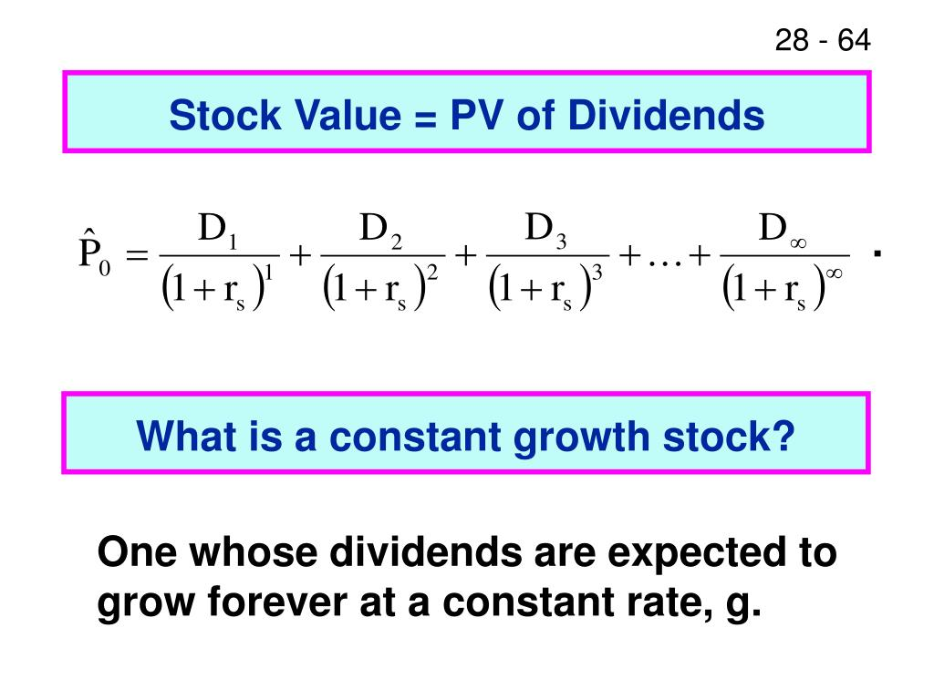 Stock Value = PV of Dividends