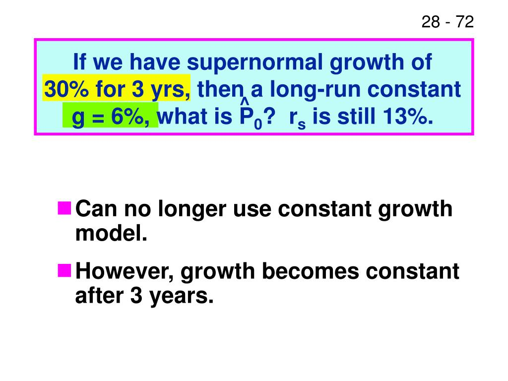 If we have supernormal growth of