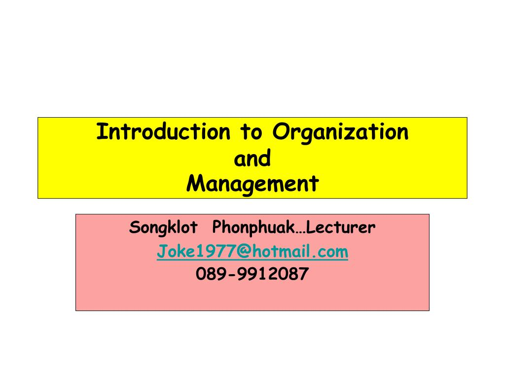 Introduction to Organization