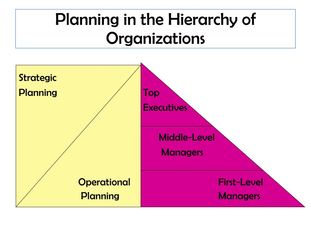 Planning in the Hierarchy of Organizations