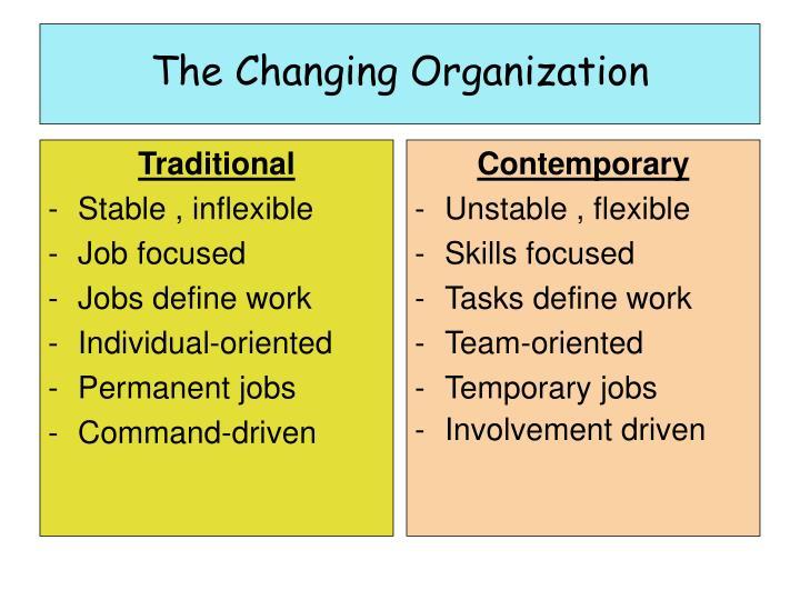 The changing organization