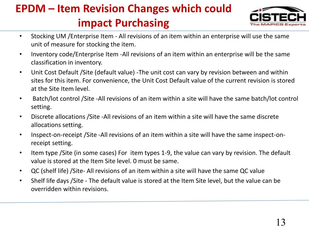 EPDM – Item Revision Changes which could impact Purchasing