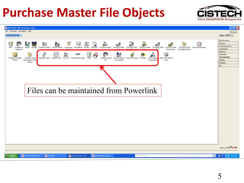 Purchase Master File Objects