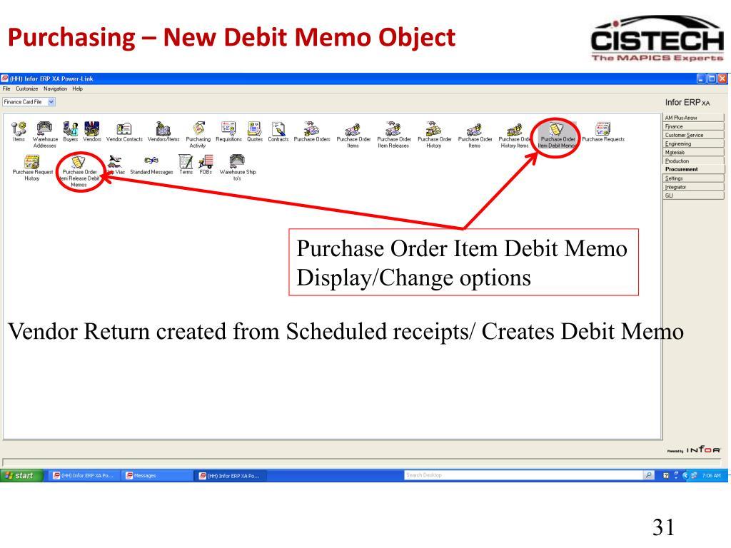Purchasing – New Debit Memo Object