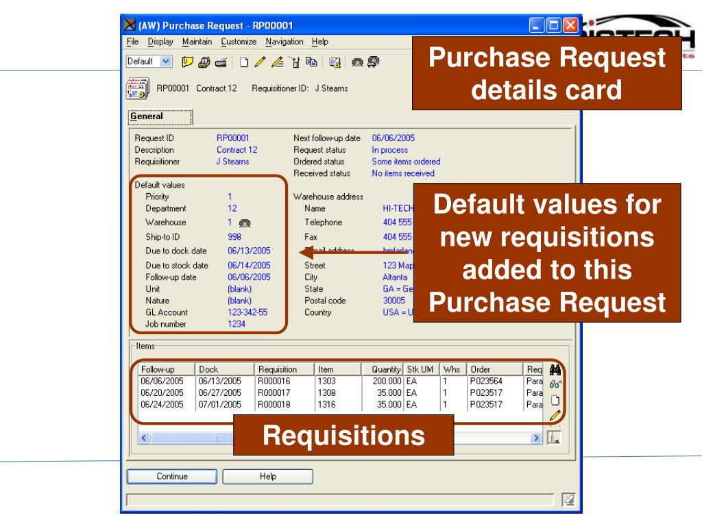 Purchase Request details card