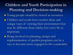 children and youth participation in planning and decision making