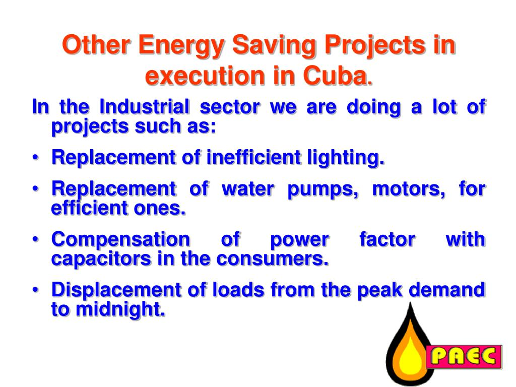 Other Energy Saving Projects in execution in Cuba