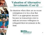 valuation of alternative investments cont d20