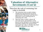 valuation of alternative investments cont d23