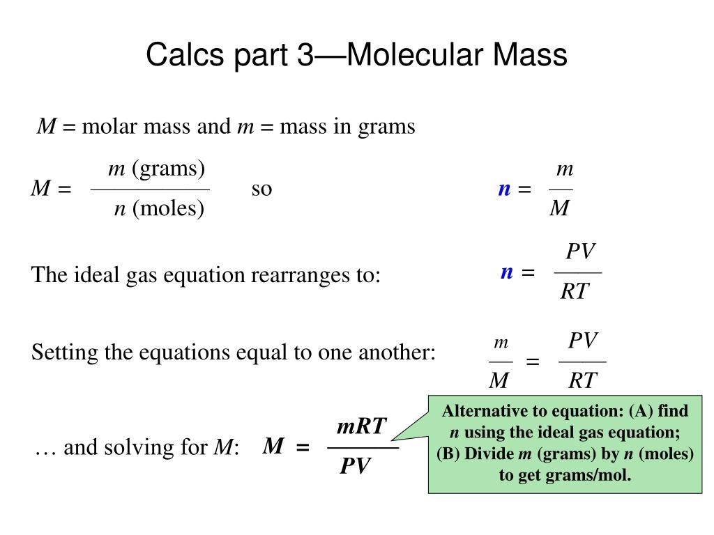 Calcs part 3—Molecular Mass