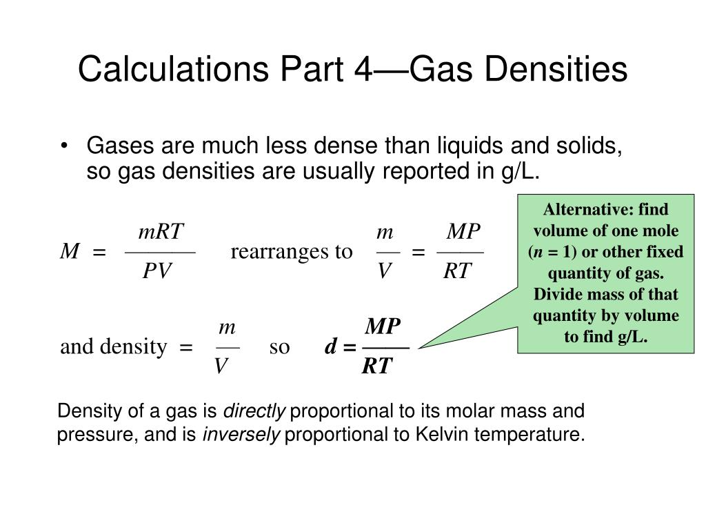 Calculations Part 4—Gas Densities