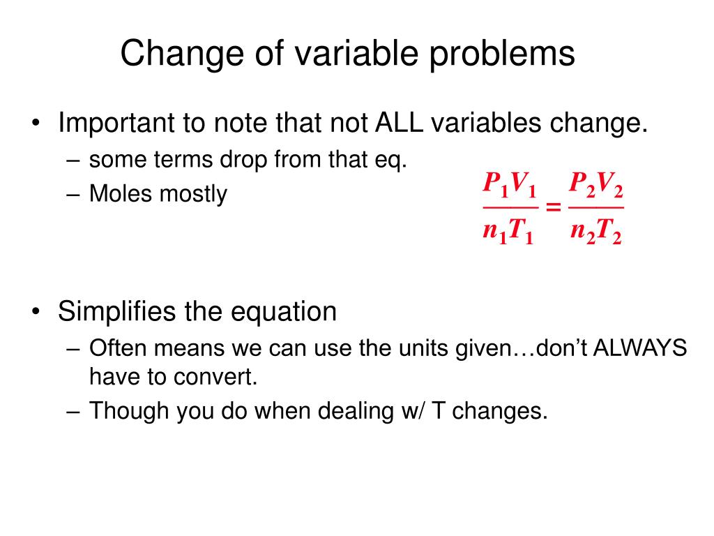 Change of variable problems