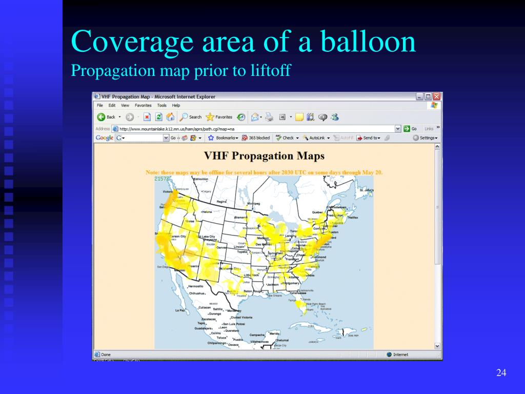 Coverage area of a balloon