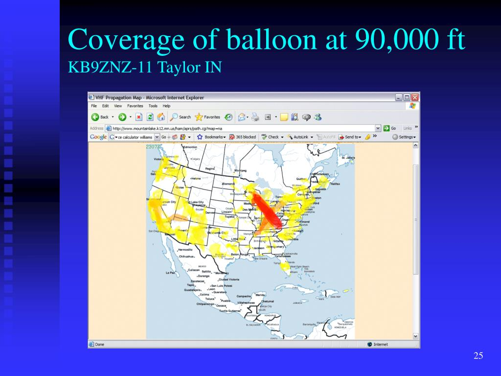 Coverage of balloon at 90,000 ft