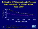 estimated hiv coinfection in persons reported with tb united states 1993 2008
