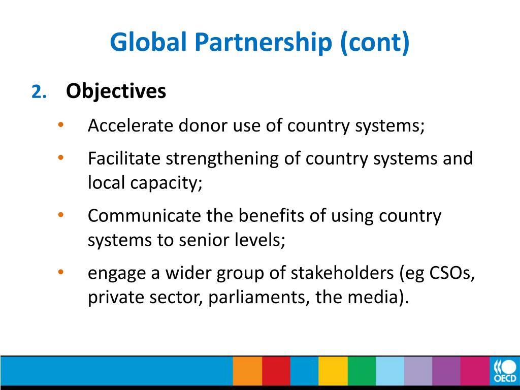 Global Partnership (cont)