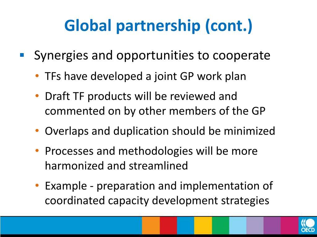 Global partnership (cont.)