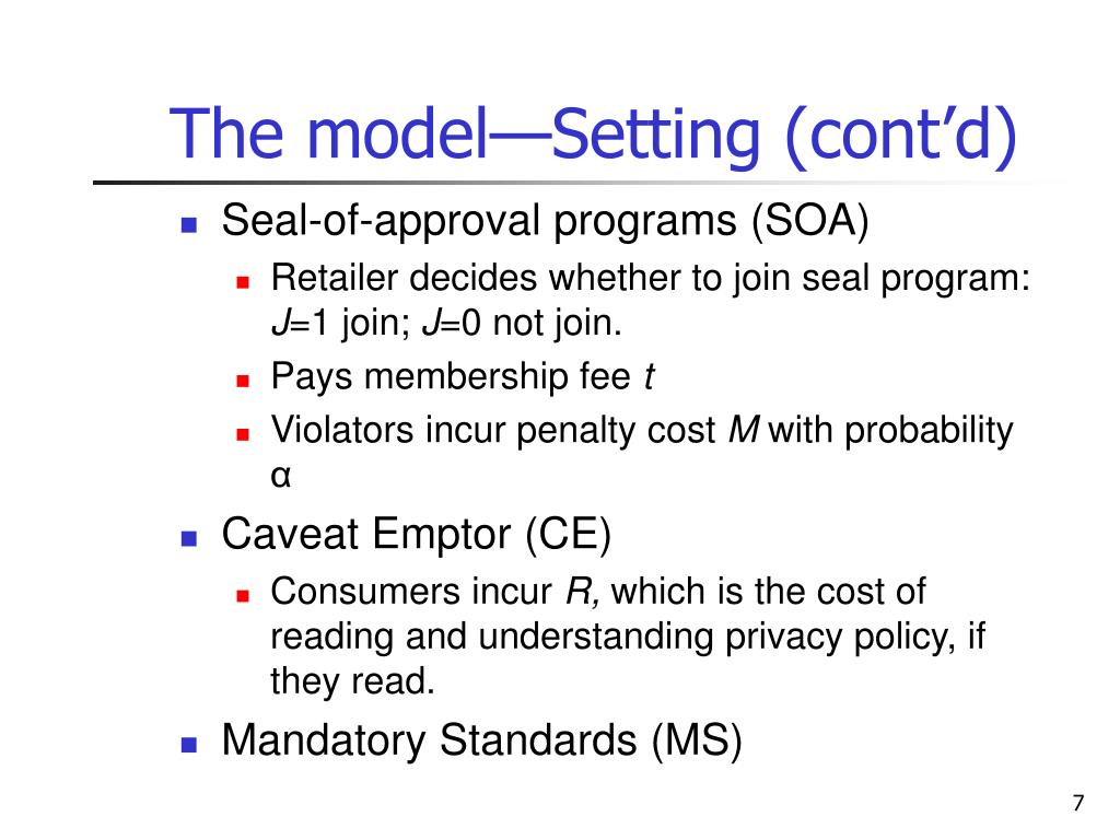 The model—Setting (cont'd)